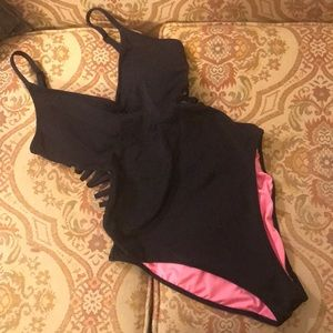 VS Pink one piece black swimsuit